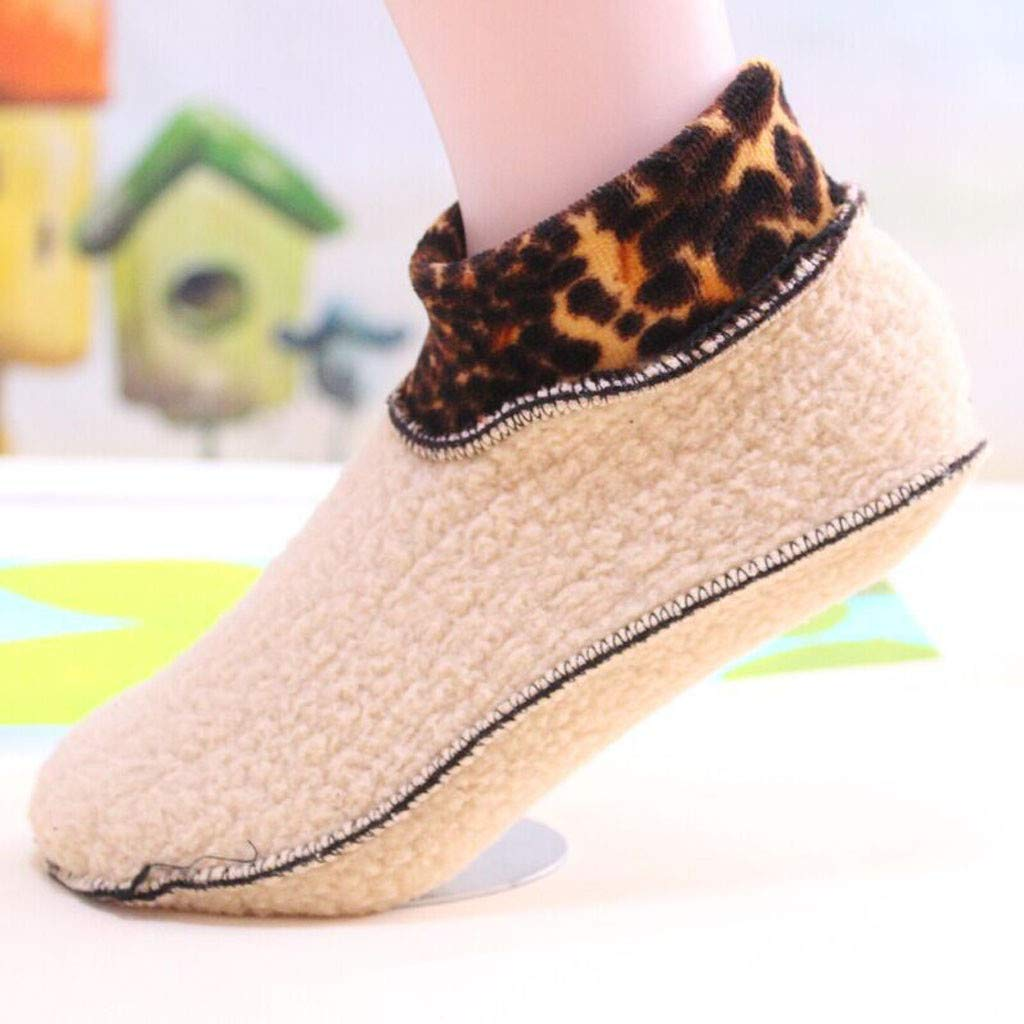 Thick Casual Crew Thermal Socks,Kids Boys Girls Non Slip Fleece Warm Leopard Gripper Yoga Stretchy Socks
