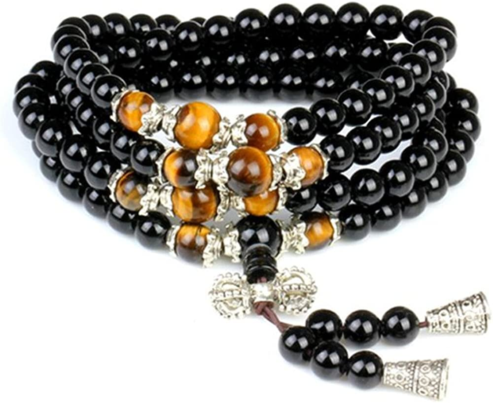 6 Mm 23 Inches Beaded Bracelet Natural Obsidian 108 Buddha Beads
