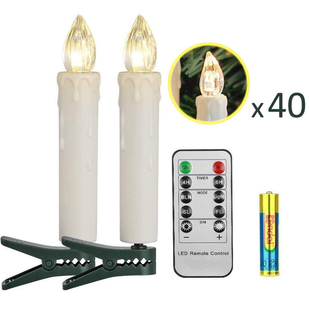 Koopower 40er LED Kerzen mit Fernbedienung, Timer Wasserdichte Dimmbar Kerzenlichter Flammenlose Weißnachtskerzen Lichterkette für Weißnachtsbaum, Weißnachtsdeko, Hochzeit, Geburtstags, Party