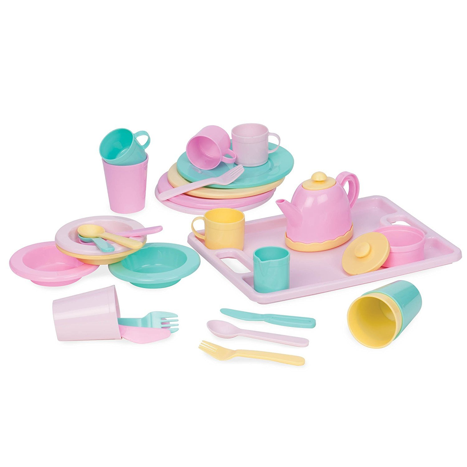 Play Circle by Battat – Dishes Wishes Dinnerware Set – 34-piece Kids Dishes and Utensils Playset – Pretend Play Kitchen Set for Kids Age 3 Years and Up