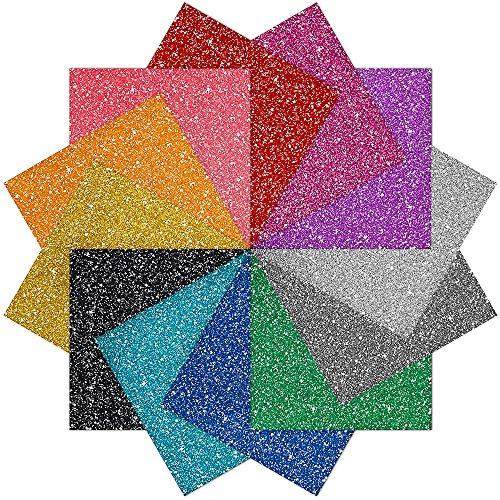 Caydo 12 Sheet Glitter Heat Transfer Vinyl Adhesive 12-Color 10mil, 10 Inch by 10 Inch (Heat Transfer Adhesive Vinyl compare prices)