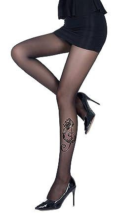 PrettyLoveHose Collant Voile Noir Effet Tatouage Clé Sol Strass ... aaece2b04db