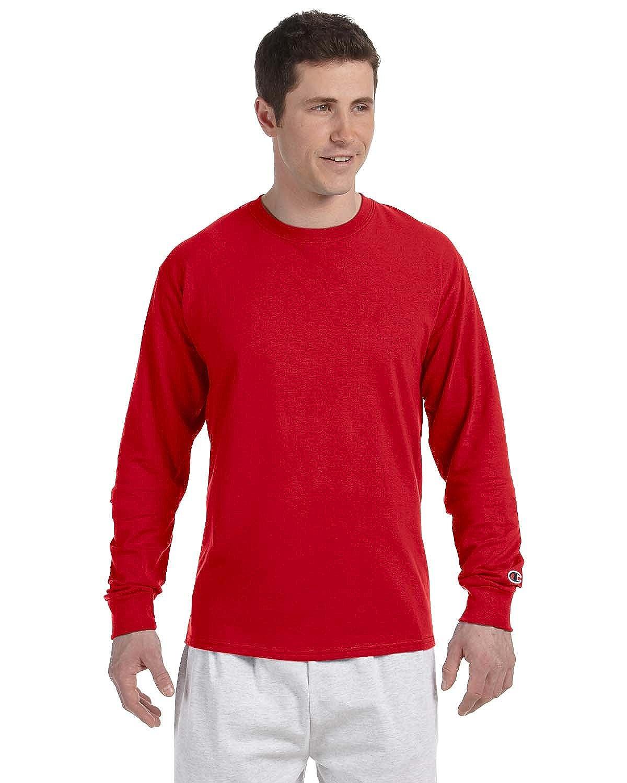6f8ec12e7 Champion Adult Long Sleeve Taped Crewneck Fitted T-Shirt: Amazon.co.uk:  Clothing