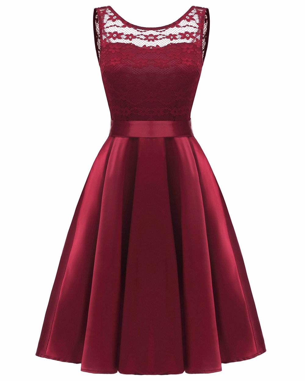 Lace Dress for Women Party - A Line Knee Length Elegant Evening Dress for Wedding (2018), Wine, Large