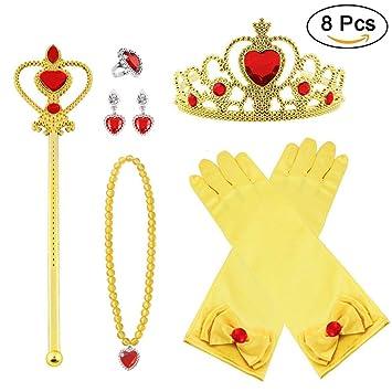 64bb2545df38 Vicloon Princesa Vestir Accesorios 8 Pcs Regalo Conjunto de Belleza Corona  Anillo Sceptre Collar Pendientes Guantes para Niña (Amarillo)  Amazon.es   ...