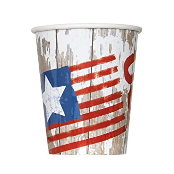ad26ea49d0a Image Unavailable. Image not available for. Color  9oz Vintage American  Flag Party Cups