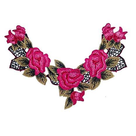 Parche bordado con diseño de rosas rojas, para coser o planchar sobre mochilas, vestidos