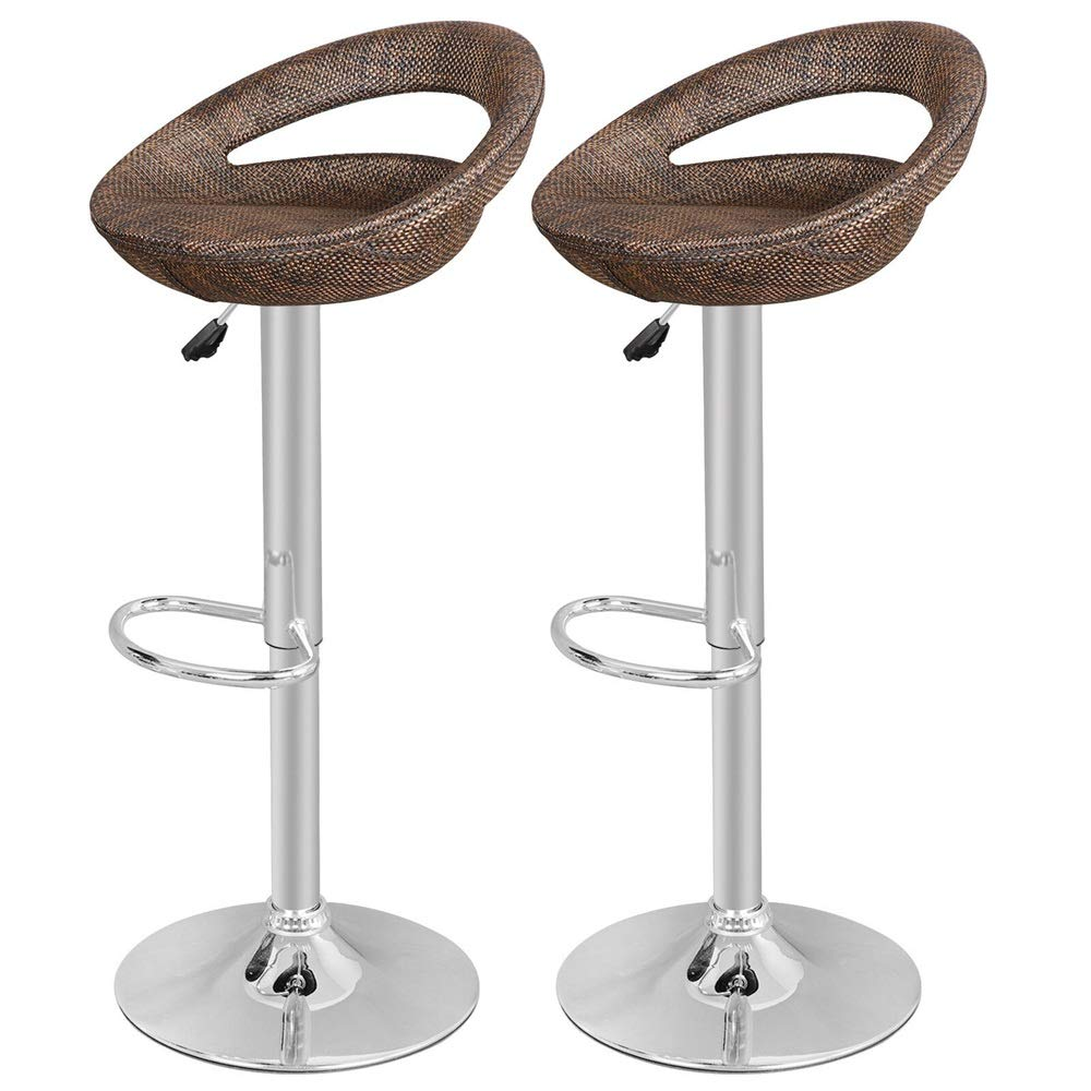 Chanok Rattan Wicker Chair Adjustable Dining Modern Height Pub Bar 360 Degrees Swivel Style Barstool Brown Stool Indoor Outdoor Counter Kitchen Home, Restaurant, Company Seat 18'' W x 17'' inch 2 Pack
