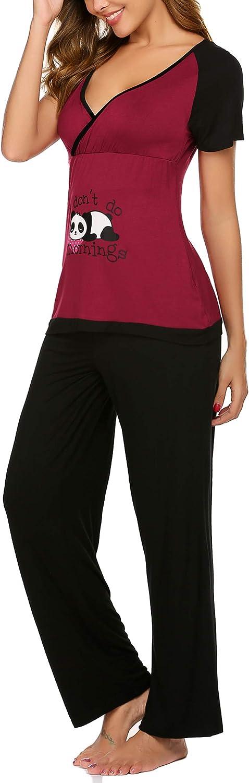 2 pezzi pigiama a maniche corte e pantaloni lunghi con funzione di allattamento da notte Pigiama da donna per lallattamento Balancora
