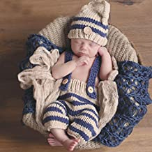 Newborn Baby Photography Props Infant Knit Crochet Costume Clothes Sets Outfits(Design 1)