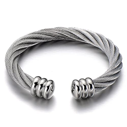 3f1ab8b2007 COOLSTEELANDBEYOND Large Elastic Adjustable Steel Twisted Cable Cuff Bangle  Bracelet for Men Women Silver Color