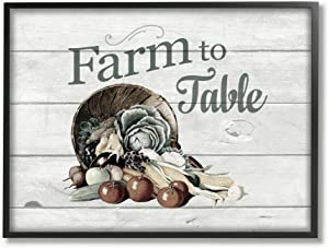 Stupell Industries Farm to Table Vegetables Rustic Wood Textured Word, Design by The Saturday Evening Post Wall Art, 11 x 14, Black Framed