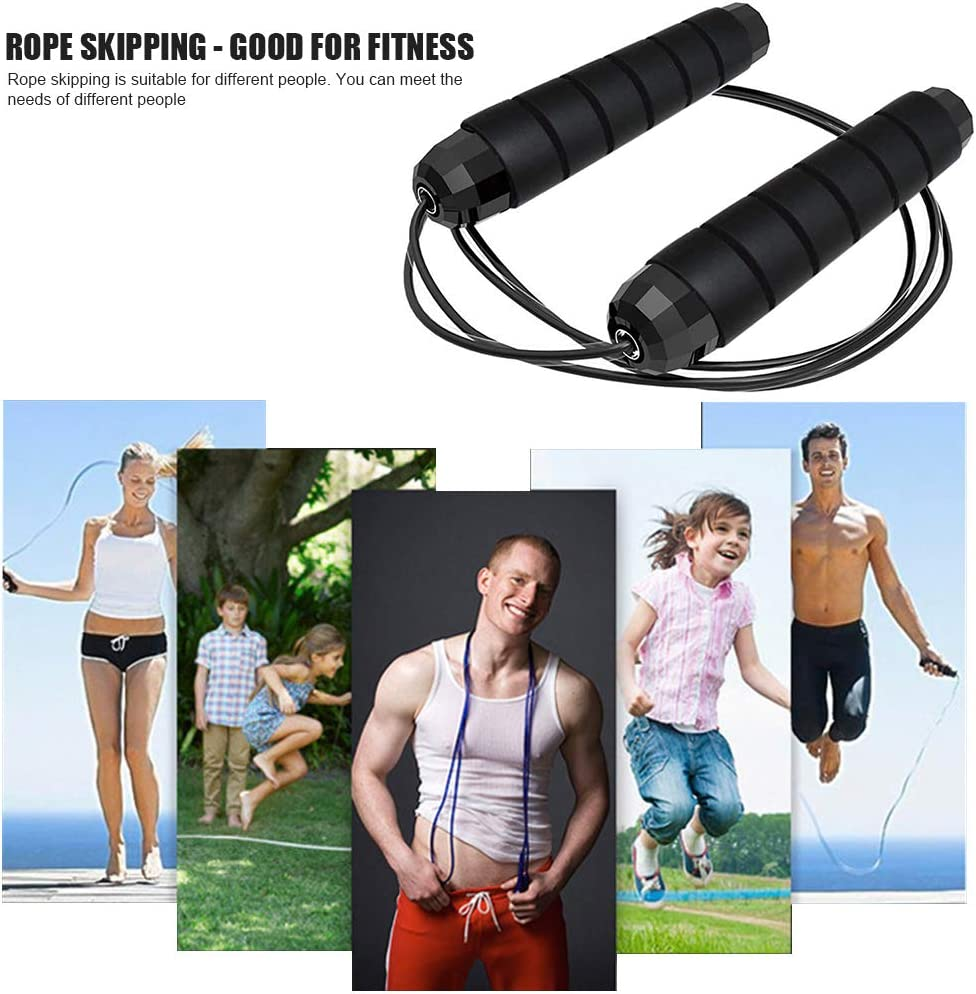 Yjiibg Jump Rope Black Green Endurance Training and Fitness Gym Tangle-Free with Ball Bearings Rapid Speed Jump Rope Cable and Memory Foam Handles Ideal for Aerobic Exercise Like Speed Training