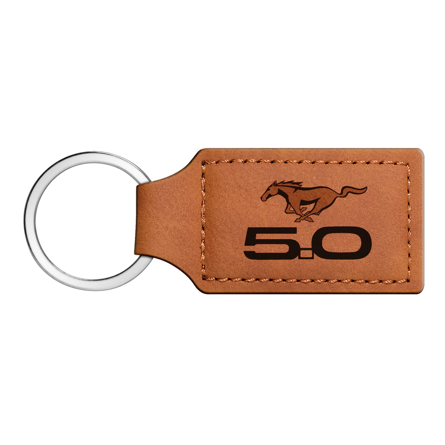 Mustang 5.0 Ford Rectangular Brown Leather Key Chain iPick Image