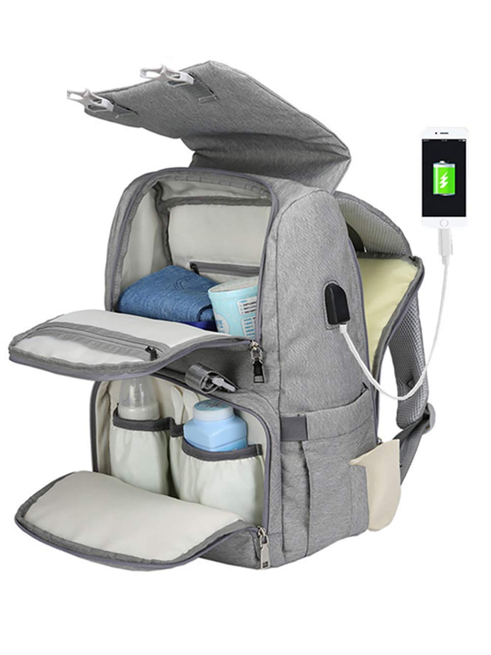 COCOCKA Diaper Bag Backpack with Changing Pad,USB Charging Port &Stoller Straps by COCOCKA