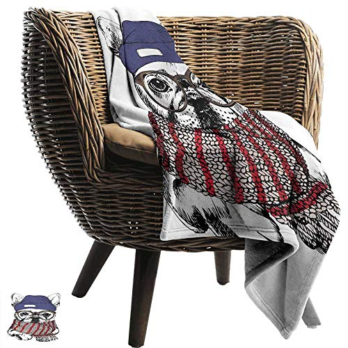 Sillgt Fleece Blanket Throw Bulldog Hand Drawn Style Portrait of Cozy Winter Dog Wearing a Scarf Beanie and Glasses Sofa Warm Bed 60