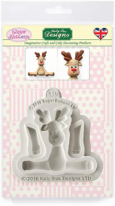 Reindeer Silicone Mold for Christmas Cake Decorating, Crafts, Cupcakes, Sugarcraft, Candies, Card Making and Clay, Food Safe Approved, Made in the UK, Sugar Buttons by Kathryn Sturrock