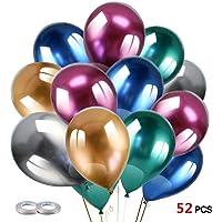 Konsait 50pcs 12Inch Metallic Balloons Party Decoration Latex Helium Shiny Balloons Chrome Balloons Shiny Multicolor…