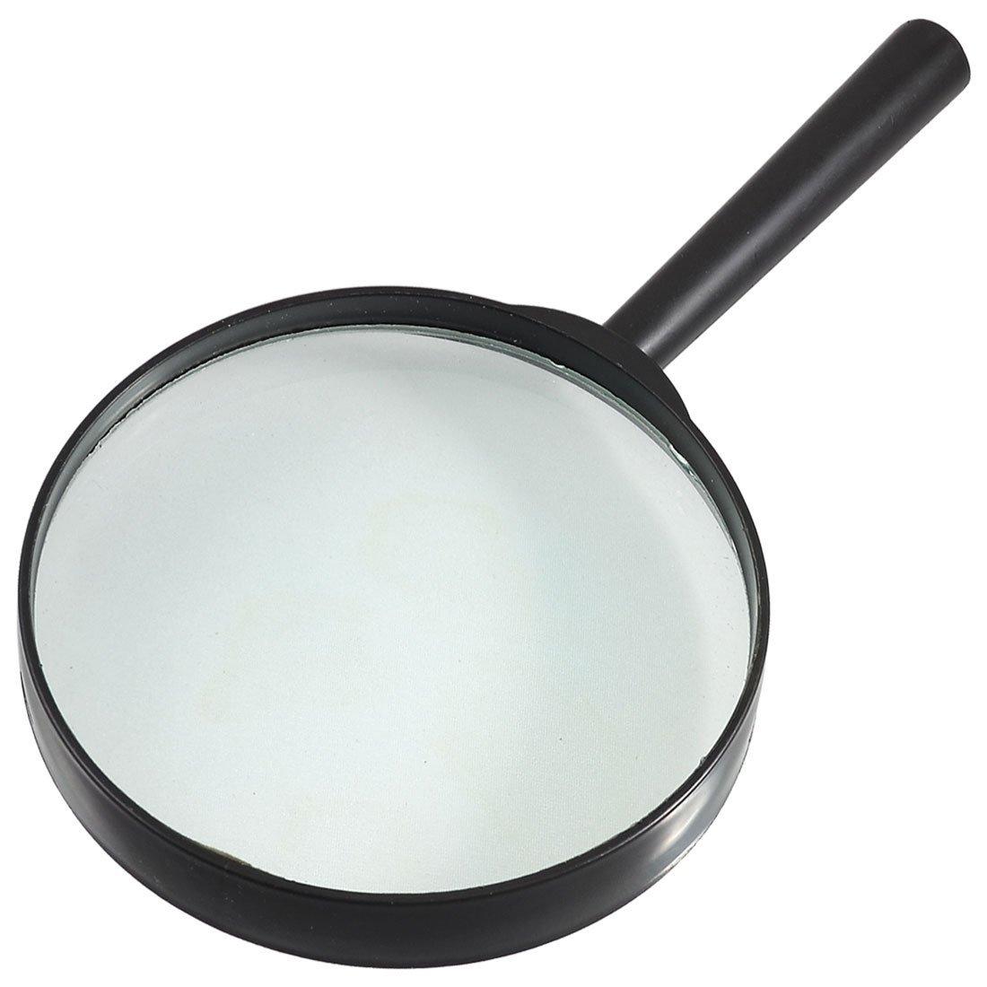 Cikuso Plastica nero rotondo manico 90 millimetri Dia Loupe 5X lente dingrandimento