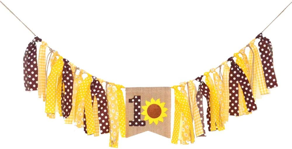 Rainlemon Sunflower Boy Girl 1st Birthday Party Highchair Banner Summer High Chair Bunting Garland Decoration