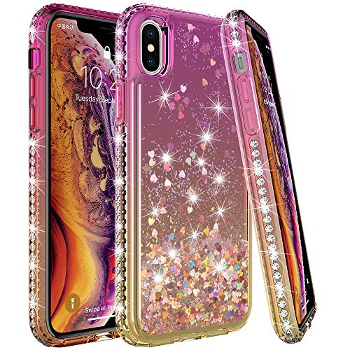 LK Case for iPhone Xs Max, [Gradient Quicksand Series] Glitter Liquid Floating Flowing Sparkle Flexible TPU Bling Diamond Clear Protective Case for Apple iPhone Xs Max - Gold