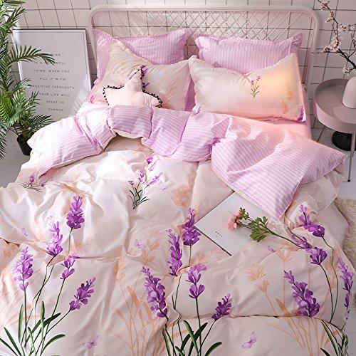 KFZ Bed Set Bedding Set Duvet Cover Set Bed Flat Sheet Pillow Covers No Comforter Twin Full Queen King Sheets Set ZL Bear Bingo Apple Lavender Design 4pcs (Lavender Flower, Pink, Twin 59