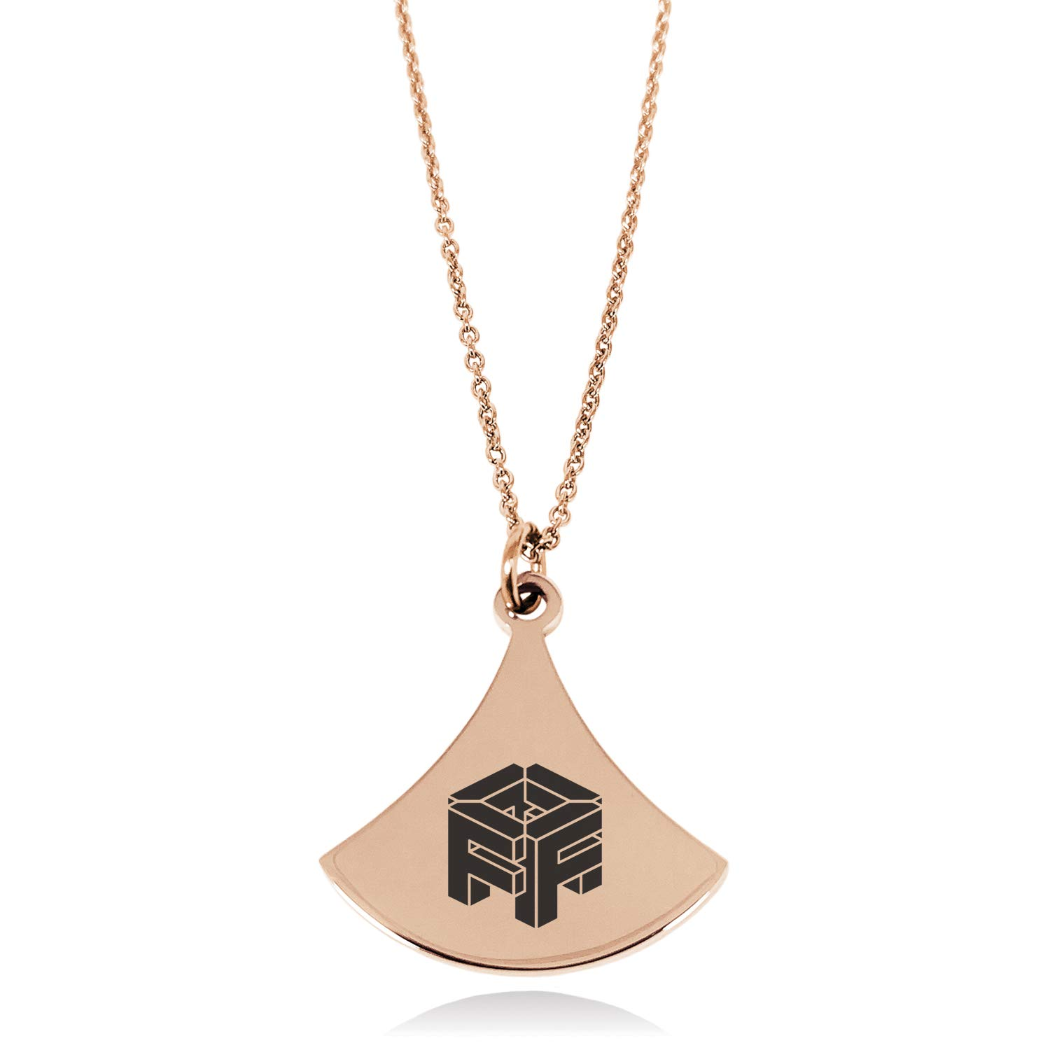 Stainless Steel Letter F Initial 3D Cube Box Monogram Pendulum Curved Triangle Charm Pendant Necklace