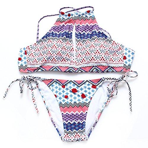 pezzi Bendaggi L due Moojm costume da costume da di bagno Stampa donne Bikini bagno wHqqZIp