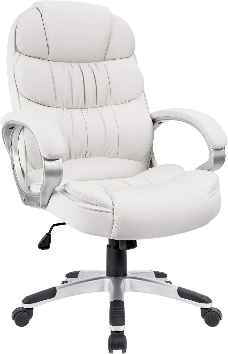 Homall Office Chair High Back Computer Chair Ergonomic Desk Chair, PU Leather Adjustable Height Modern Executive Swivel Task Chair with Padded Armrests and Lumbar Support White
