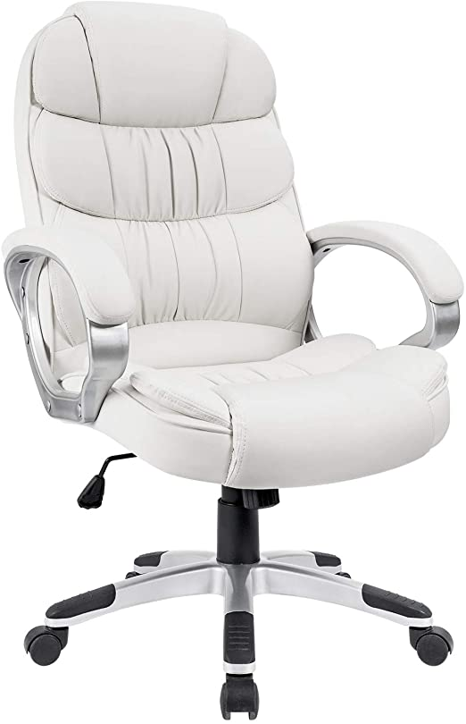 Amazon Com Homall Office Chair High Back Computer Chair Ergonomic Desk Chair Pu Leather Adjustable Height Modern Executive Swivel Task Chair With Padded Armrests And Lumbar Support White Home Kitchen