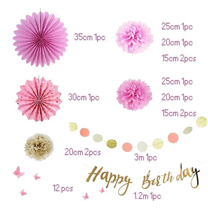 Deko Geburtstag Madchen Geburtstag Dekoration Set Rosa Pomisty Happy
