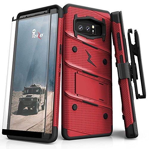 Zizo Bolt Series Compatible with Samsung Galaxy Note 8 Case Military Grade Drop Tested with Tempered Glass Screen Protector Holster RED Black
