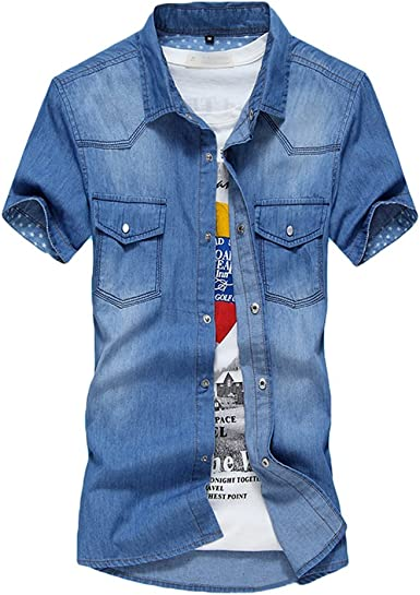 Dooxi Hombre Camisa Vaquera Manga Corta Verano Slim Fit Casual Camisas