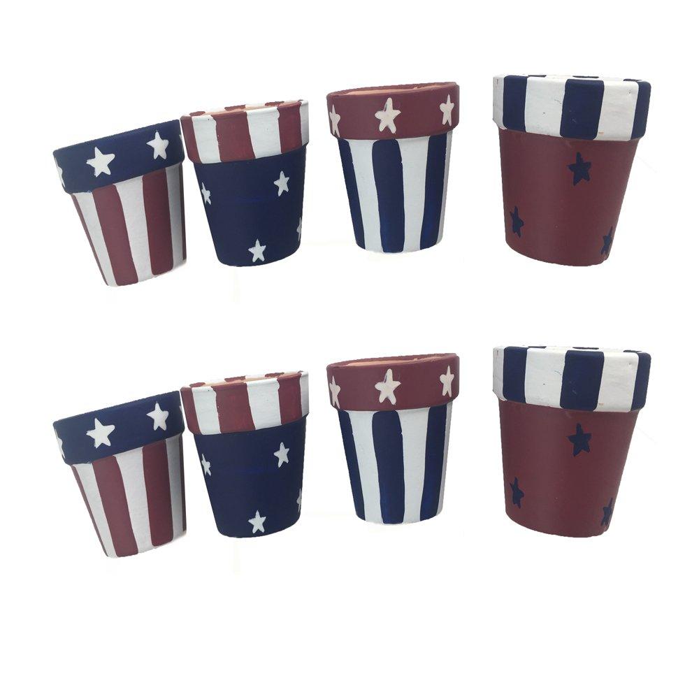PatrioticクラシックAmericanaハンドペイントテラコッタナプキンリングのセット8 16  B01HIPVXNC