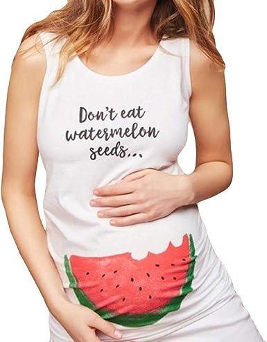 Mitlfuny Camiseta de Lactancia Maternidad a Rayas Chaleco Camisa Mujer Blusa Vestido de Maternidad sin Mangas con Estampado de sandía y Cuello de Verano para Mujer Embarazada: Amazon.es: Ropa y accesorios