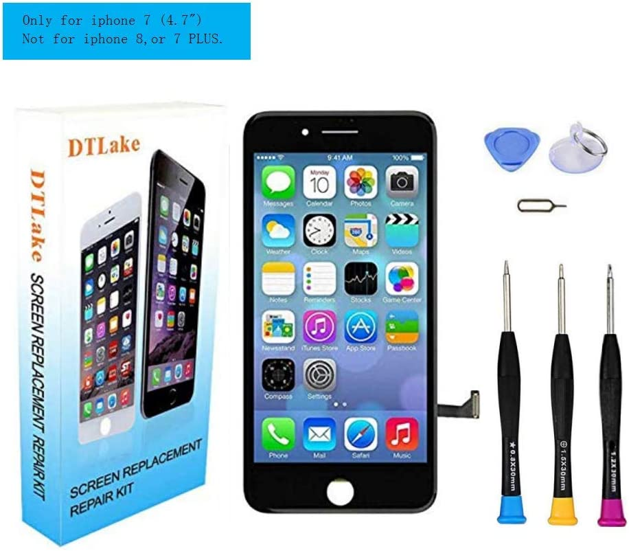 Premium Screen Replacement Compatible iPhone7 4.7inch(Model A1660, A1778, A1779), LCD Complete Repair Kits, LCD Touch Digitizer Display Glass Assembly with Tools, Instruction (Black)