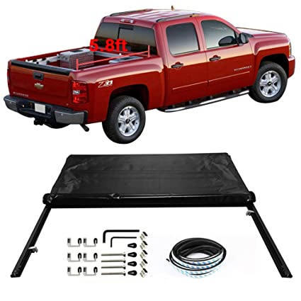 Amazon Com Tonneau Cover Fits 2007 Chevy Silverado 1500 1500hd 2500 2500hd 3500 Roll And Lock Soft Style Double Sided 24 Oz Vinyl Aluminum Black Crew Cab 5 8ft 68in Bed By Ikon Motorsports Automotive