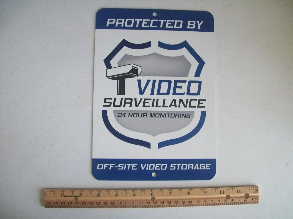 Video Surveillance Security System 7'' x 10'' Metal Yard Sign - Stock # 715