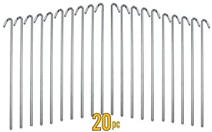 ALAZCO Galvanized Steel Tent Pegs - Garden Stakes -Heavy Duty - Rust Free
