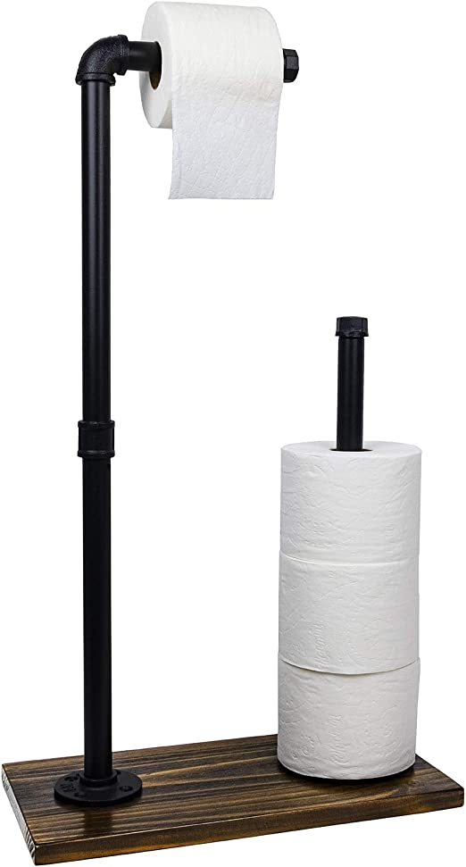 Toilet Paper Holder Stand Free Standing Toiler Paper Dispenser Bathroom Organizer With Reserve Storage Industrial Cast Iron Pipe With Stained Woodnen Base Size 28 X 15 75 Home Kitchen