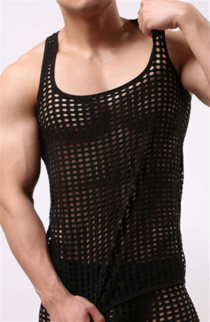 Conffetti Mens Crew-Neck Sleeveless Stretch T-Shirt Pure Color Hollow Tank Tops