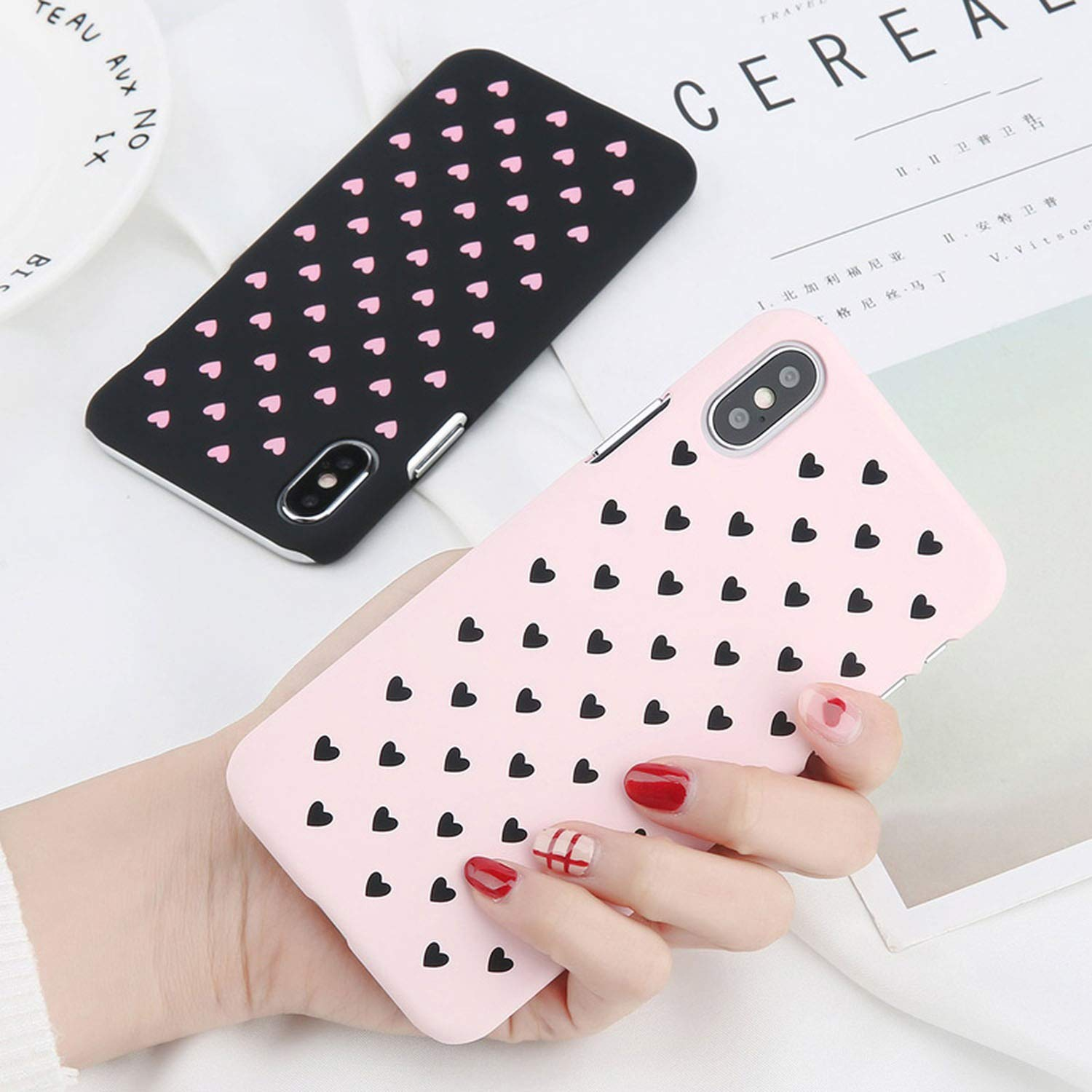 Amazon.com: Phone Case for iPhone XR XS Max Xs X Cute Love Heart Cases Coque for iPhone 7 6 6s 8 Plus 5 5s SE Hard PC Cover Fundas,SJ7267 Pink,for iPhone 5 ...
