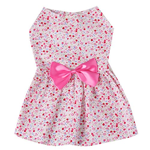 Alalaso-Pet clothing , Floral Paste Dress Pet For Small Dogs Party Princess Pet Apparel (XS, Pink)]()