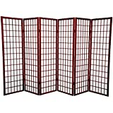 Oriental Furniture 5 ft. Tall Window Pane Shoji Screen - Rosewood - 6 Panels