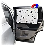 """ggomaART Car Side Window Sun Shade Universal Magnetic Curtain for Baby and Kids 27"""" X 18.5"""" Black Star"""