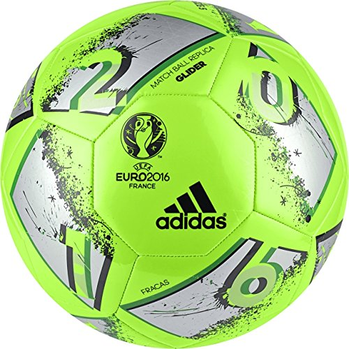 adidas Performance Euro 16 Glider Soccer Ball, Solar Green/Silver Metallic/Dkgrey, Size 5