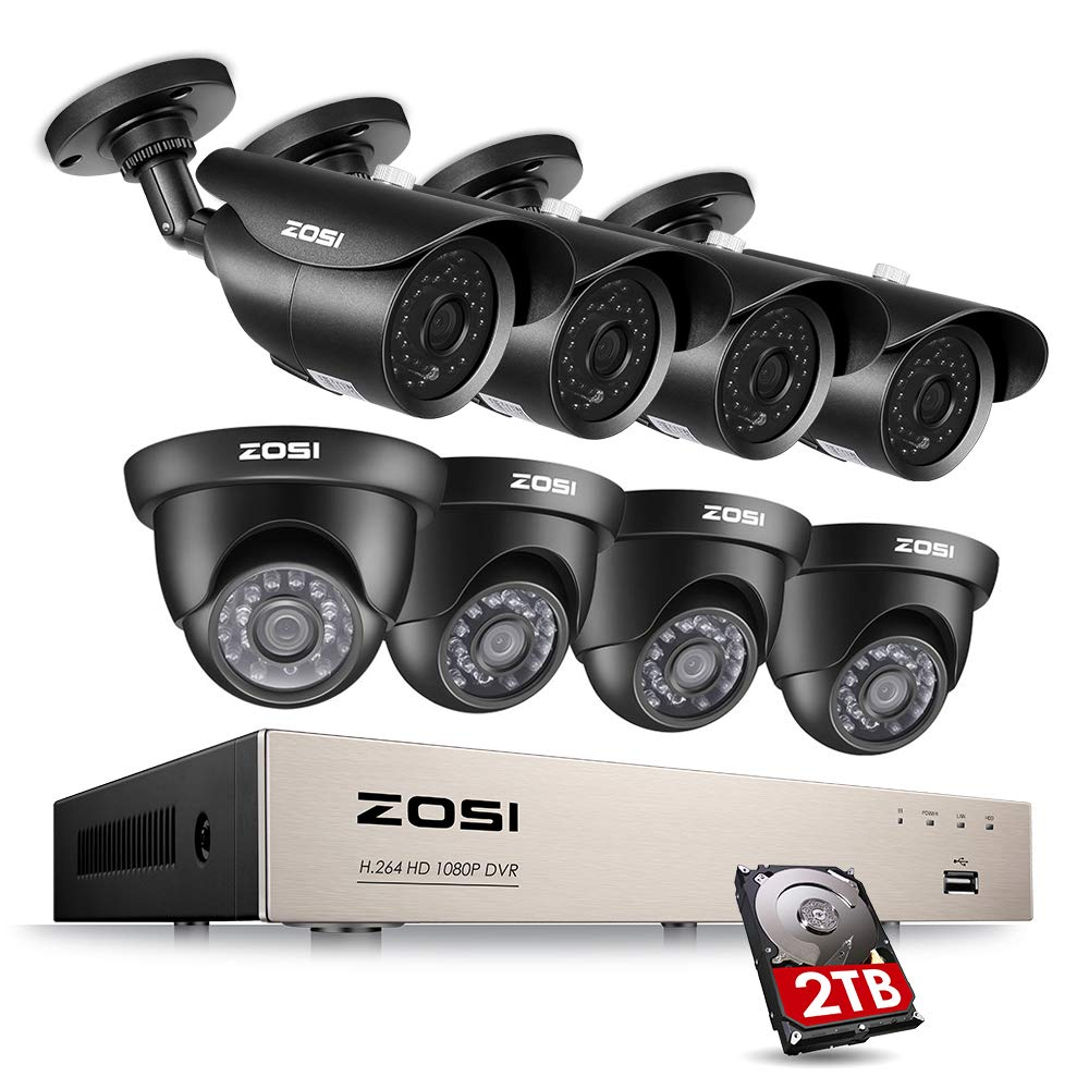 ZOSI 8CH 1080P Security Camera System HD-TVI Video DVR Recorder with 8 2.0MP Bullet and Dome Weatherproof CCTV Cameras 2TB Hard Drive,Motion Alert, Smartphone, PC Remote Access