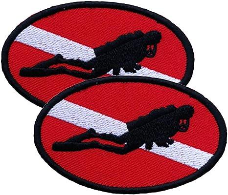 SM SunniMix Paquete De 2 Parches De Bordado De Bandera Elipse Diver Hierro Bordado Encendido//Cosido De Buceo PADI Divers Emblem Souvenir