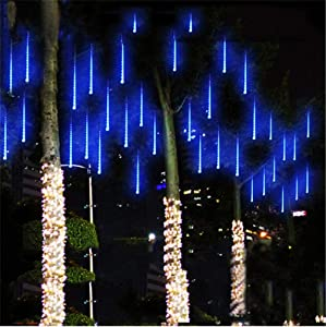 Syka Rain Drop Lights Blue, Meteor Shower Lights with 11.8 inch 8 Tubes 144 LEDs Falling Rain Lights, Outdoor Icicle Snow Cascading Christmas String Lights for Holiday Tree Wedding Party Thanksgiving