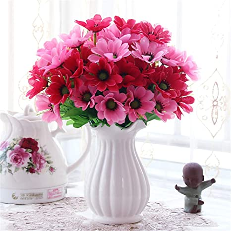 Licxcx Flores Artificiales Salón Mesa Flor decoración ...